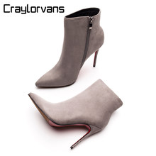 3b4488afa4c4c Craylorvans Red Bottom High Heels Boots 2018 Winter Autumn Women Boots Gray  Suede Ankle Boots Sexy Zipper Pointed Toe bottes