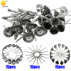 Image 1 - 45pcs מיני סיבובי נירוסטה חוט גלגל חוט מברשת קטן חוט מברשות סט אביזרי עבור dremel מיני תרגיל רוטרי כלים
