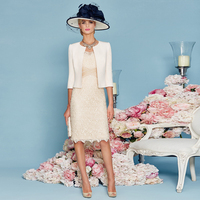 Champagne Elegant Vestidos de Festa with Half Sleeves Jacket Sheath Mother of the Bride Dress Knee Length Lace Women Bandage