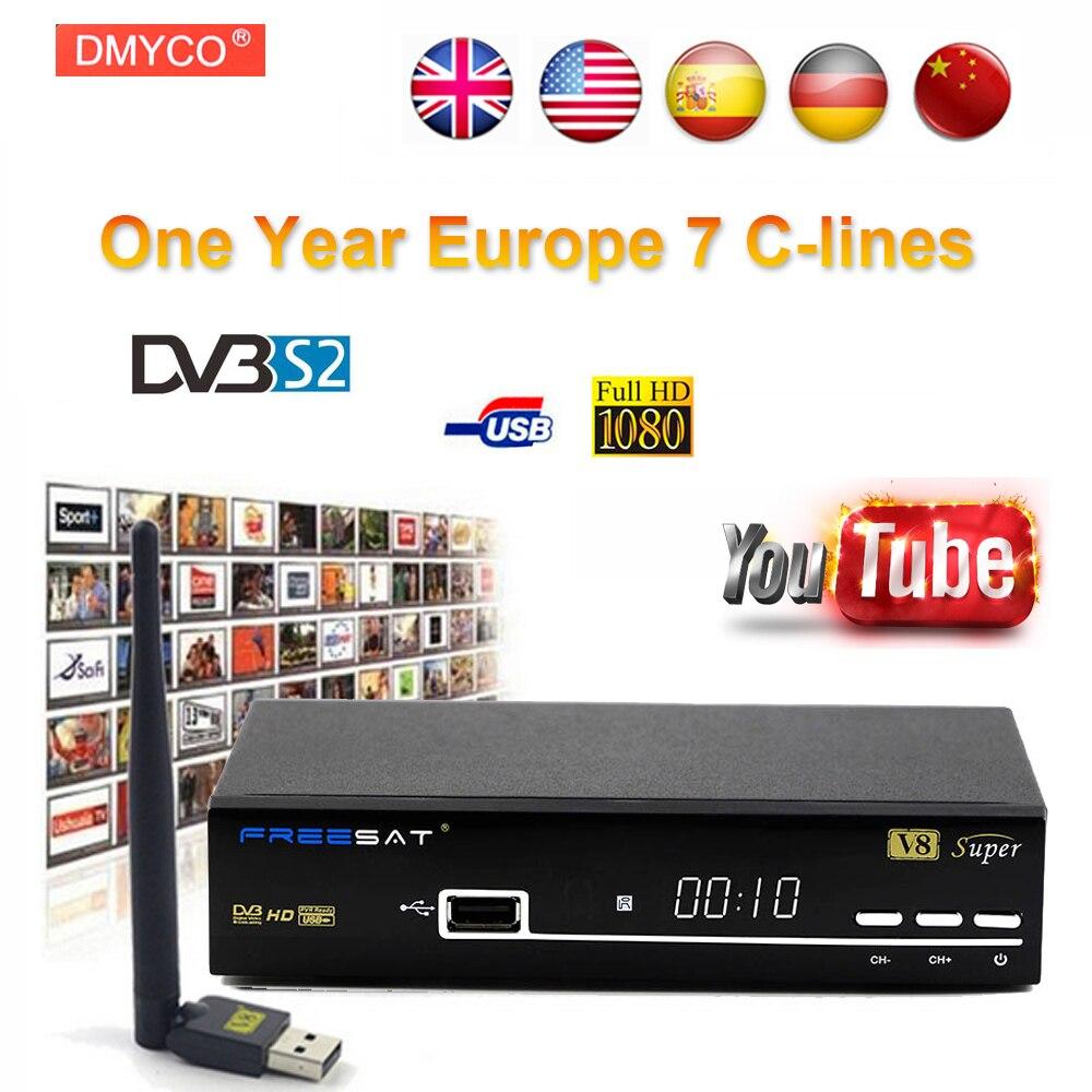 1 Anno Cline Europa Freesat V8 super DVB-S2 Ricevitore Satellitare Decoder Supporto 1080 P Full HD powervu Cline bisskey IPTV DLNA EPG
