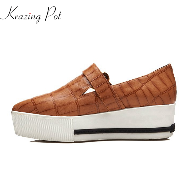Krazing Pot cow leather solid pointed toe high street fashion sneaker streetwear causal shoes women vulcanized cozy shoes L1f2