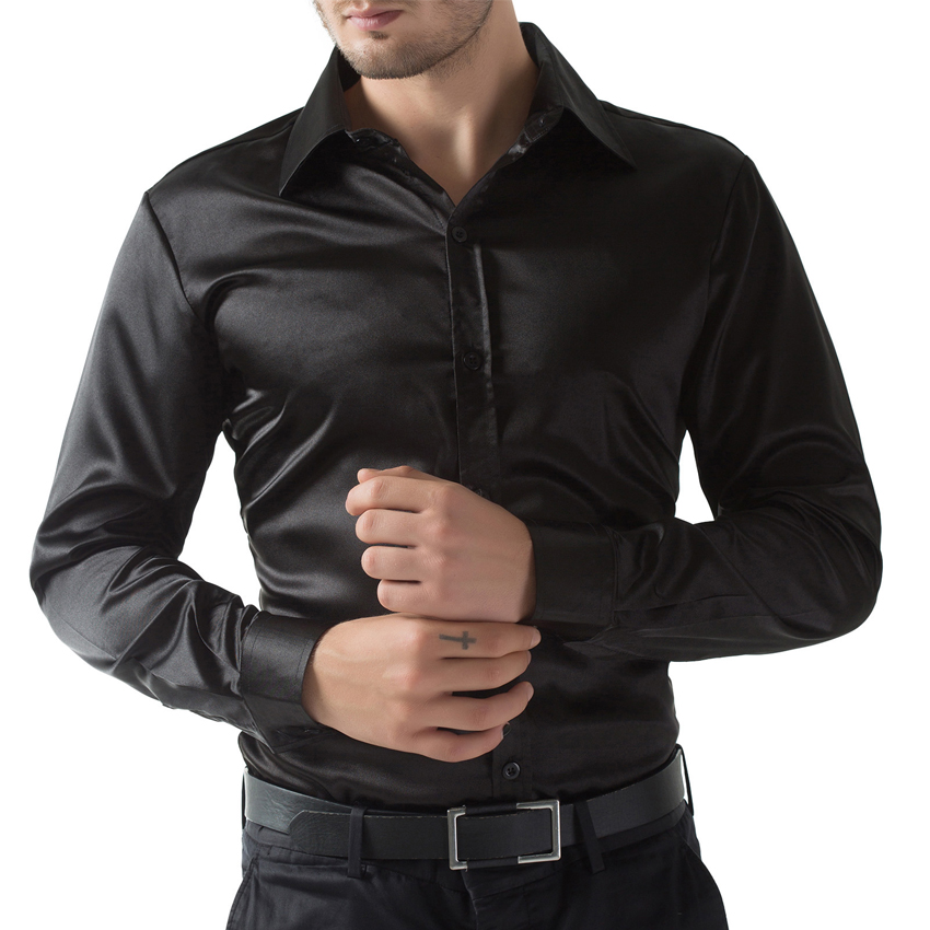Top Quality Mens Shirt Black Wine Red Purple Long Sleeve Men Dress Shirt Silk Like Satin Single Breasted Slim Fit Mens Shirts In Casual Shirts From Mens
