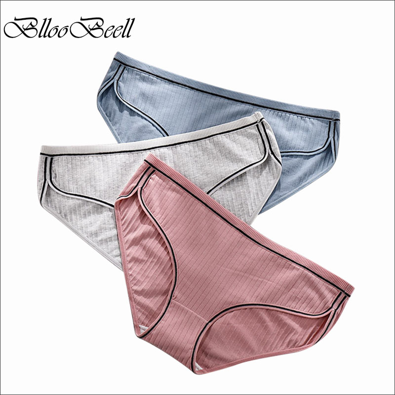 BllooBeell Large Size Women's Underwear Cotton Low-Rise   Panties   for Women Sexy Lace Briefs Female Striped Lingerie 2XL/3XL/4XL