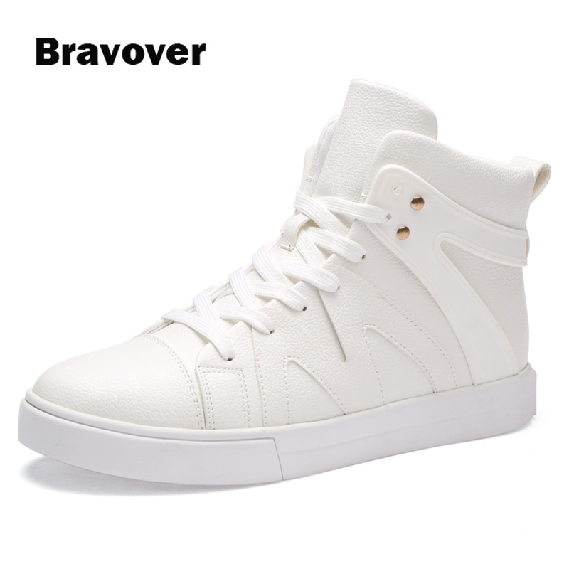 PU Leather High Tops Men Shoes White Black Lace Up Male Casual Shoes Round Toe Ankle