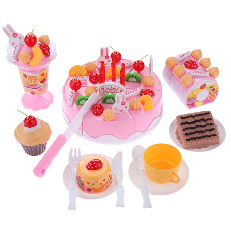 1:1 Classic 75pcs Simulation Birthday Cake Kitchen Cutting Toy Set Kid Pretend Play Toy Children Birthday Gift Early Education