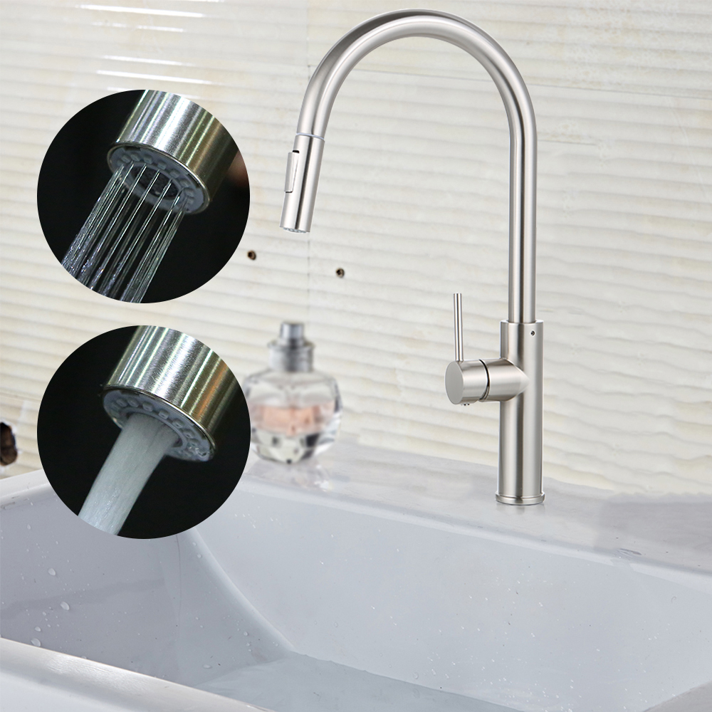 Kitchen Faucet Pull out Side Sprayer Single Handle Mixer Tap Sink Faucet 360 Rotation Kitchen Faucets Ceramic Valve Core