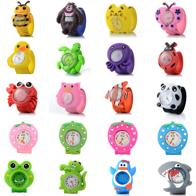 WhiteCity 3D Cartoon  Animal Kids Watches Rubber Quartz Children's Watches For Girls Boys Cute Clock