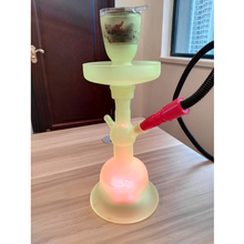 Hot sale 2018 green glass hookah with 4.5V water proof led light remote control higher quality AL Fakher chicha narguile led bar
