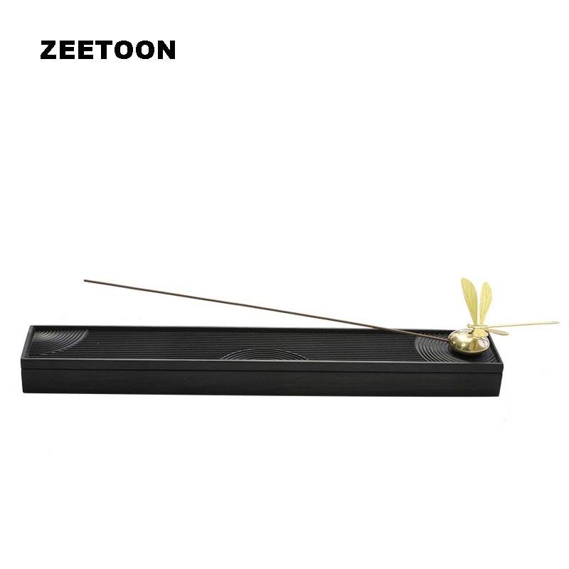 Japonais sec paysage brûleur d'encens bois de santal libellule encensoir bâton porte-encens plaque boîte Art décor à la maison Zen Yoga potins