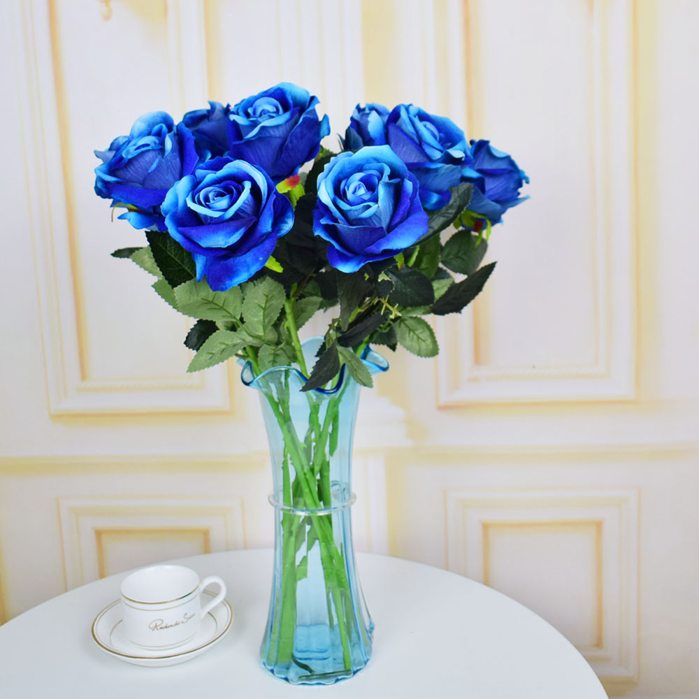 7pcs Velvet Roses Artificial Flowers For Home Wedding Table