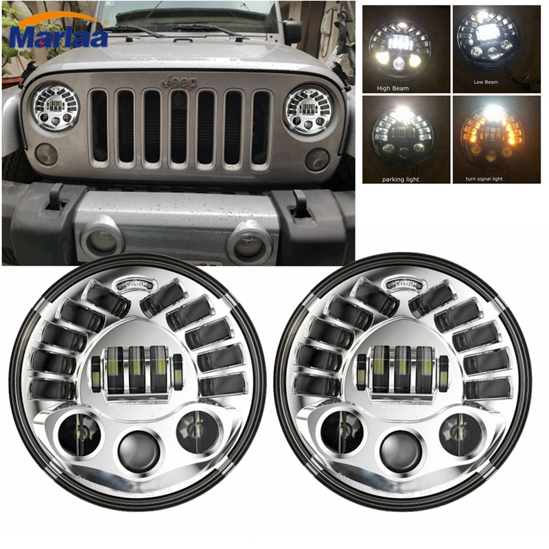 2017 newest hot 70w/45w 7 round led headlight for jeep wrangler for harley motorcycles with white amber DRL hi/low beam