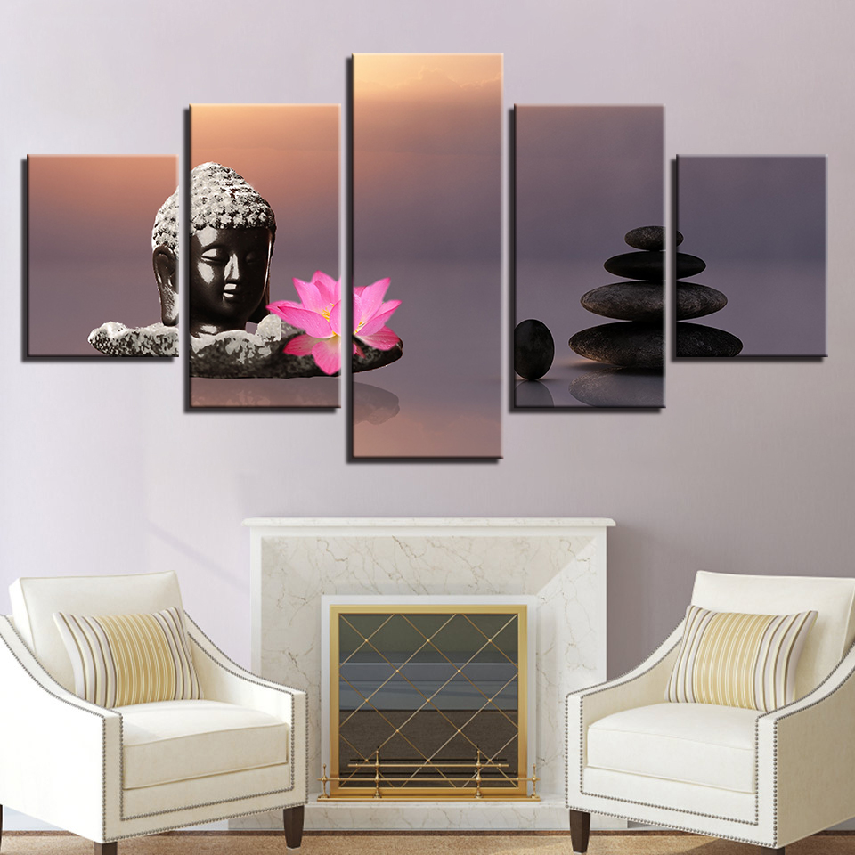 Art Living Room Printed Pictures Decor Canvas 5 Panel Stone Buddha Pink Lotus Flowers Modern HD Frame Home Painting Poster Wall