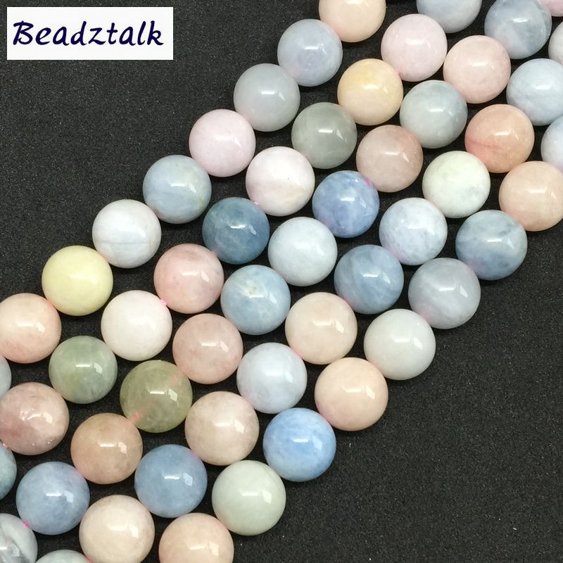 Natural Colorful Morganite Stone Round Beads No Dyed AAA Quality 6 8 10 12 mm DIY Jewelry Making Supplies 6 8mm colorful morganite bracelets round natural stone bracelets morganite beads bracelet for women gift women jewelry