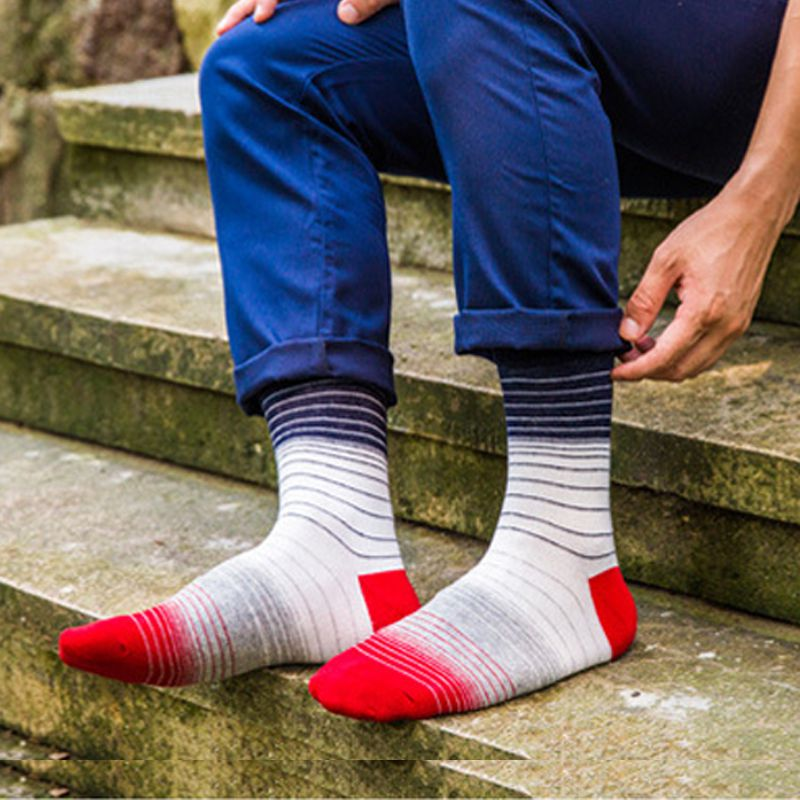5Pairs/Lot Colored Striped Men Socks New Style Brand Sokken Meias Cotton Sock Cheap Cool Dress Mens Crew Socks Calcetines Hombre