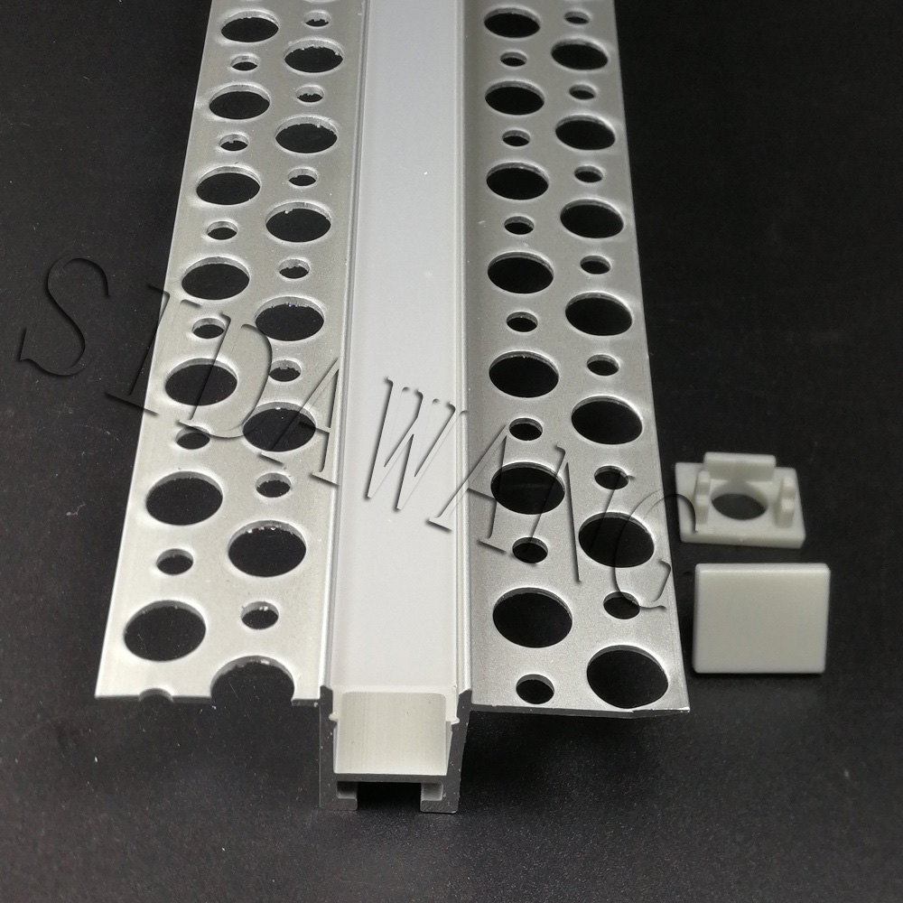 5 10set 2meter piece Trimless Recessed Aluminum Drywall Profile Plaster Channel Suitable for 10mm wide Strip