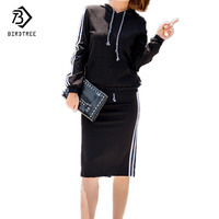 Two Piece Set Woman 2017 Fashion Casual Sweatshirt Suits Ladies Tracksuit Striped Long Sleeve Black Pockets