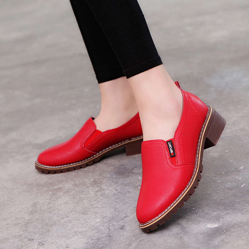 Women Flat Shoes Casual Genuine Leather Solid Footwear Fashion 2018 Female Slip on Ladies Flats Women's Shoes BTF1003