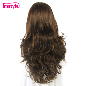 Image 4 - Imstyle כהה חום תחרה מול פאות סינטטי שיער פאה ארוך גלי פאות עבור נשים חום סיבים עמידים Glueless שיער 26 סנטימטרים