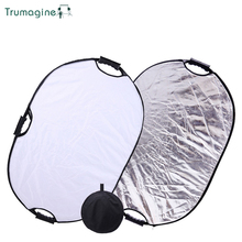 TRUMAGINE 60x90CM 2 IN 1 Silver/White Color Portable Collapsible Oval Light Reflector For Photographic Studio With Handle