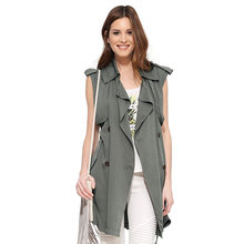GO FURTHER  casual double breasted lacing slim medium-long sleeveless vest trench outerwear female