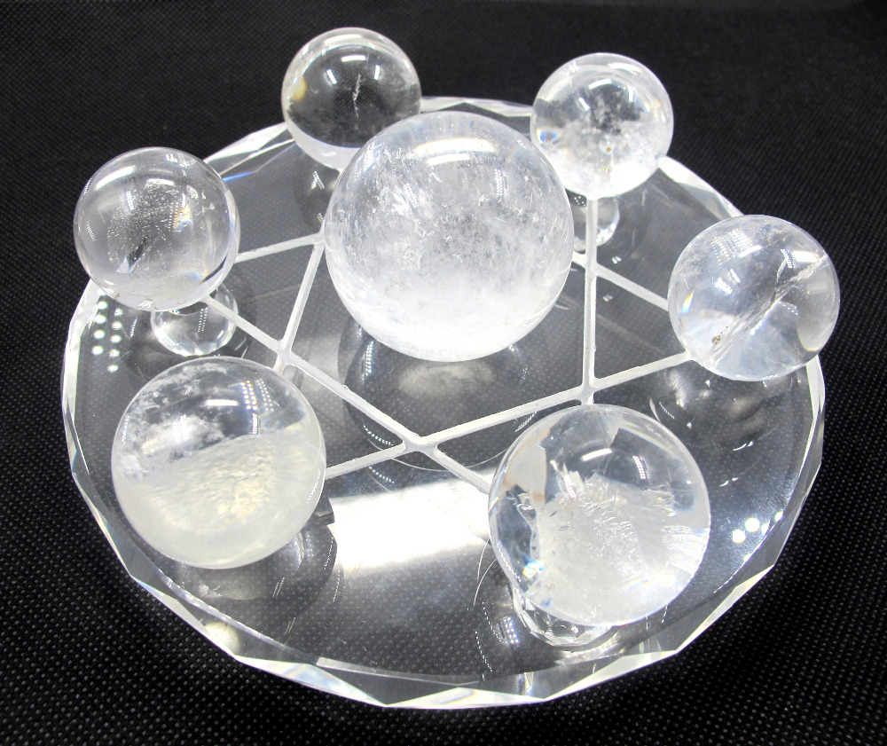Crystal Natural Clear Rock Quartz Crystal Ball Sphere Sets with Tray,7Crystals Sphere Strong Power yves rocher yves rocher бальзам ополаскиватель для восстановления с жожоба и миндалем