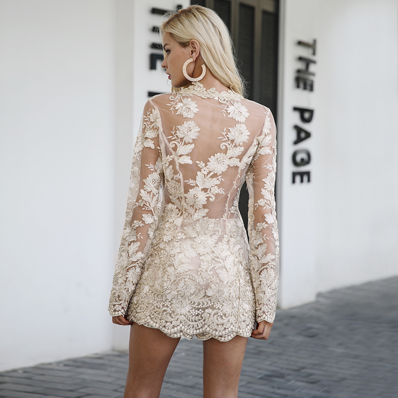 Simplee Sexy sequin lace playsuit women Elegant long sleeve co-ordinates suit jumpsuit romper Mesh embroidery backless overalls 5
