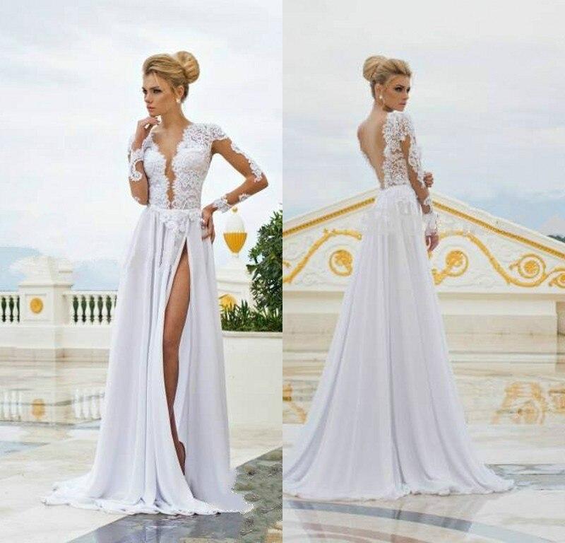 elegante simple sin respaldo vestidos 2015 encaje de manga larga