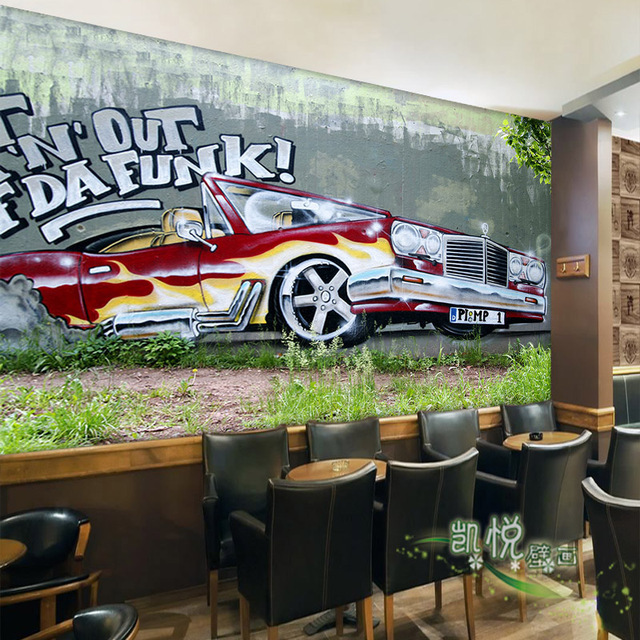 Custom 3d mural 3D stereo large graffiti car wallpaper restaurant