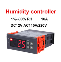Digital Humidity Controller Humidity Switch Capacitive Humidity Sensor Humidification Dehumidification Tool 10A AC220V 110 DC12V