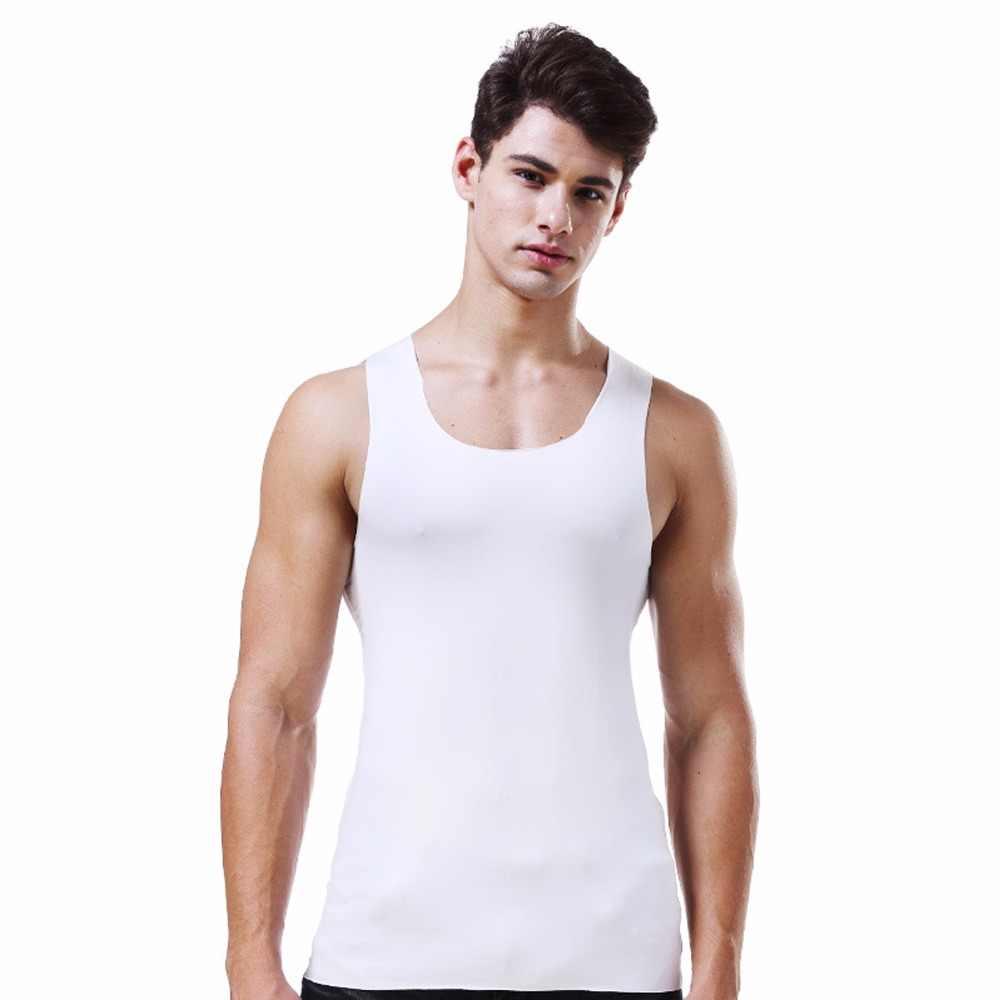 Großhandel Sommer eis seide nahtlose männer weste rundhals Schlank Schnell trockenen kühlen breite schulter unterwäsche business bodenbildung shirt