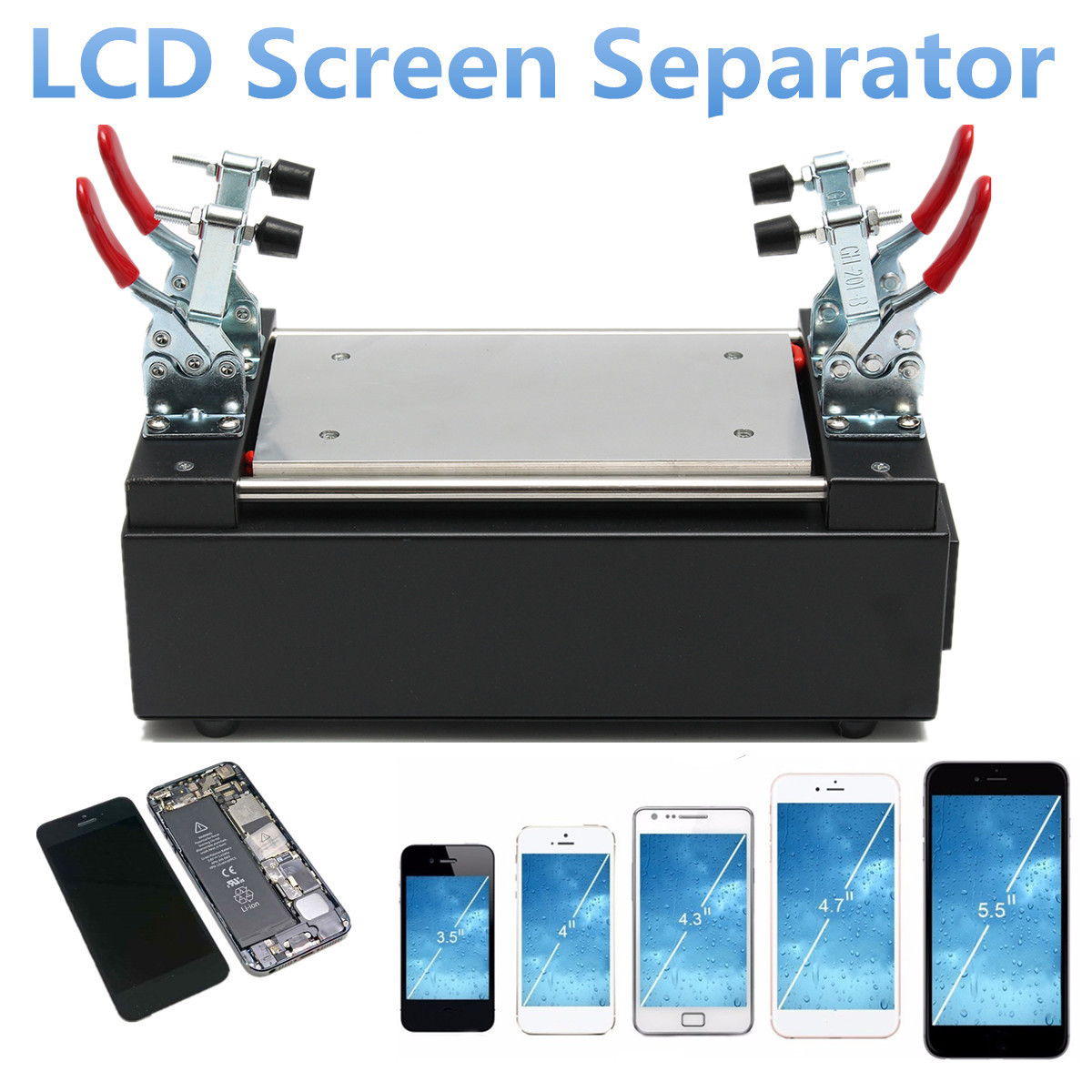 7 Built-in Vacuum Pump Phone LCD Outer Glass Screen Separator Repair Machine With Adjustable Fixed Tools Anti Static US/EU Plug цена