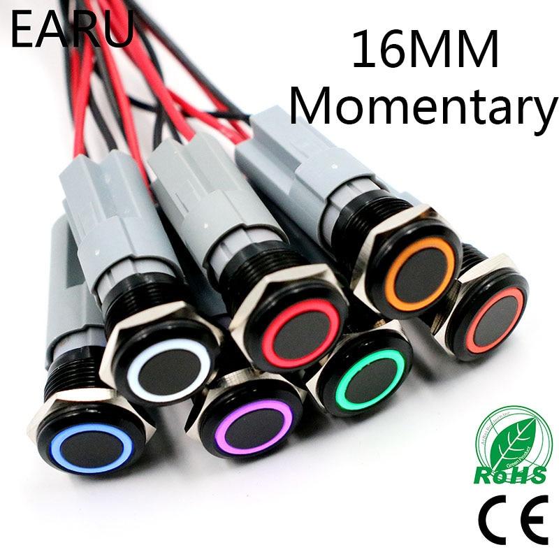 16mm LED Light Momentary Reset Alumina Black Body Waterproof Metal Push Button Switch Car Engine PC Power 3V 5V 6V 12V 24V 220V