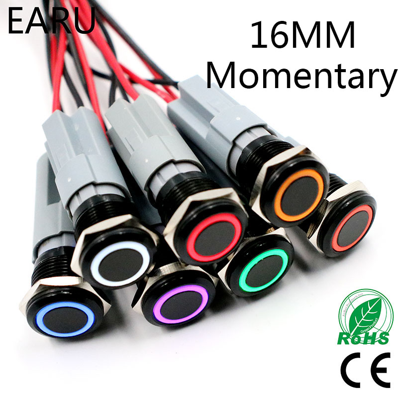 16mm LED Light Momentary Reset Black Body Waterproof Metal Doorbell Bell Horn Push Button Switch Car Auto Engine PC Power Start 1pc 6pin 25mm metal stainless steel momentary doorebll bell horn led push button switch car auto engine start pc power symbol