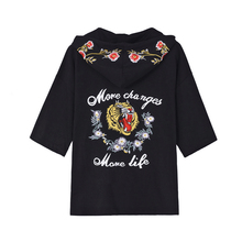 Free Shipping Men and Women Embroidering Tiger Pattern Fashion Sweater Short sleeve Black Shirt Casual Pullover Cosplay Party