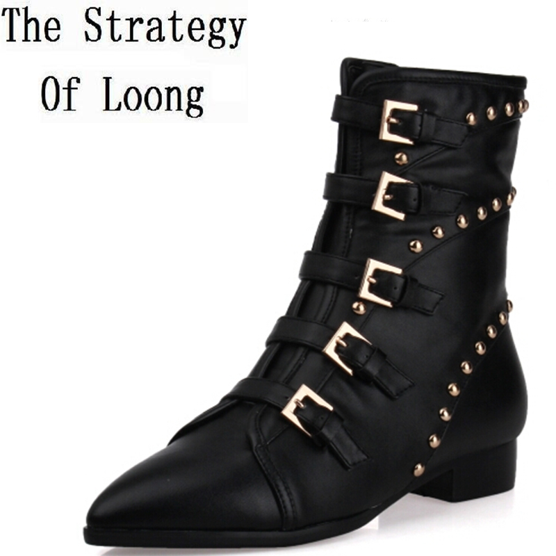 Women Spring Autumn Flats Genuine Leather Side Zipper Buckle Rivets Tassel Pointed Toe Fashion Knight Boots Size 34-39 SXQ0801 women spring autumn thick high heel genuine leather pointed toe side zipper buckle fashion ankle martin boots sxq0806