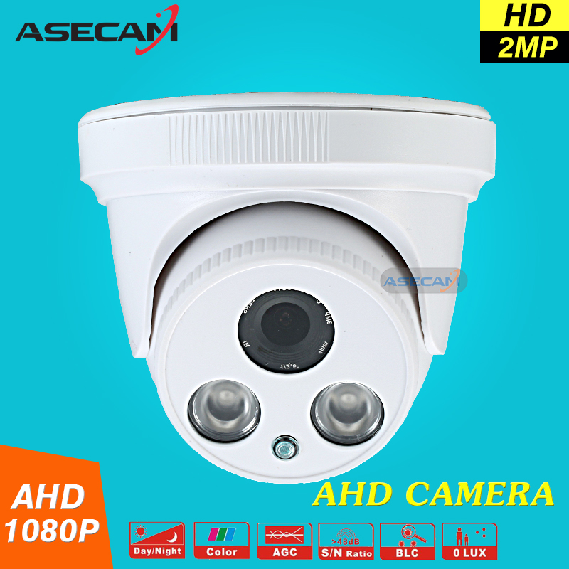 ASECAM 2MP HD 1080P AHD Security Camera Indoor White Dome Array infrared 2LED Array Night Vision CCTV Surveillance cam new home 2mp hd ahd 1080p camera security cctv white dome 2pcs array infrared night vision surveillance camera ahd h system