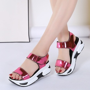 Image 3 - WDZKN 2020 Summer Shoes Women Sandals Open Toe Wedges Heel Sandals Mirror PU Leather Women Casual Platform Sandals Black Blue