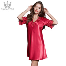 Silk sexy womens night gown summer silk thin section autumn nightdress short-sleeved ice large size home service