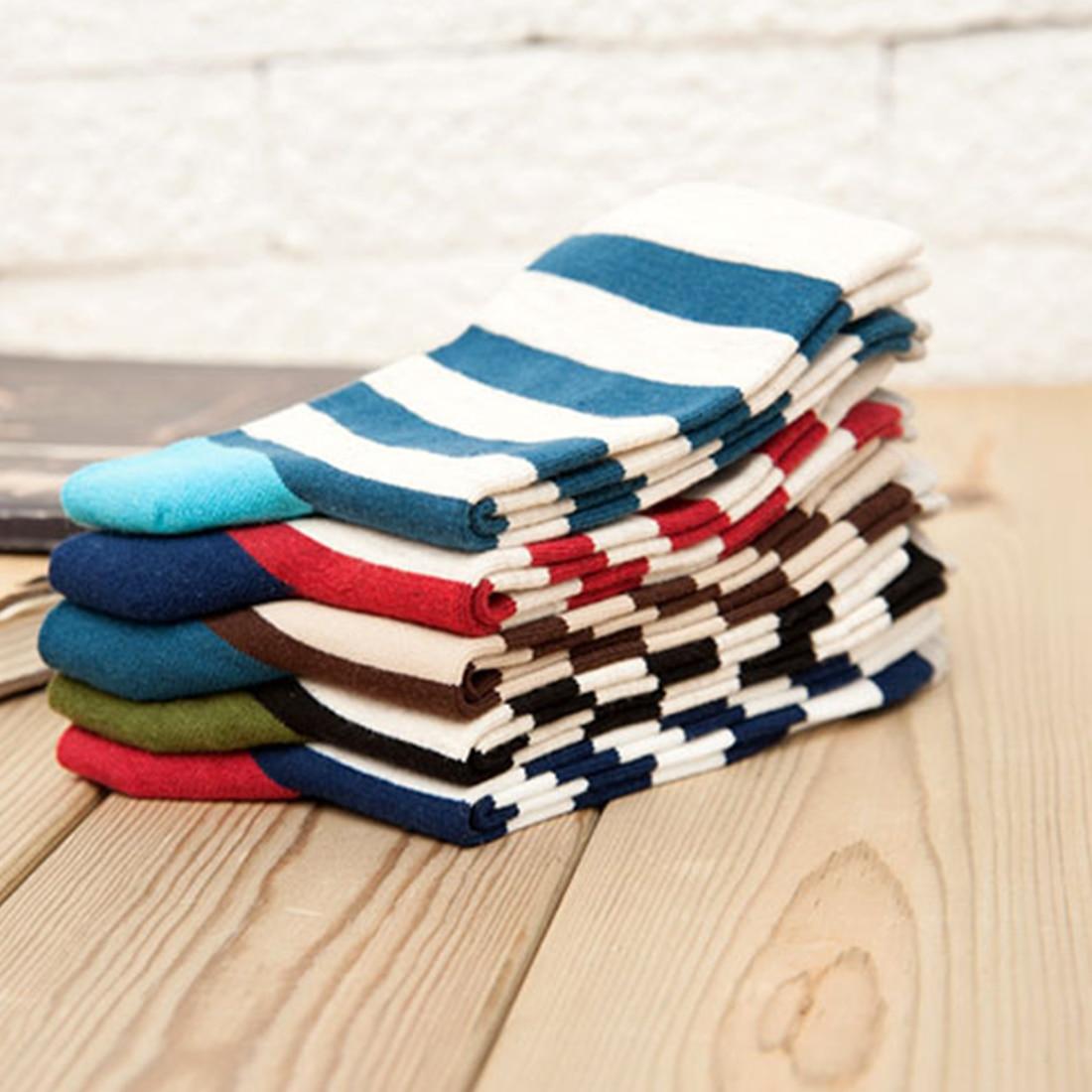 Top Sale 1Pair Colour Stripes Men Crew   Socks   of Happy   Sock   Casual Harajuku Long   Socks   Fashion Funky Design Crews Men Women   Socks