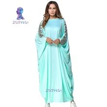 Nueva moda musulmán Abaya vestido de costura sólida vestido de manga murciélago ropa islámica musulmana caftan Abaya dubai Casual