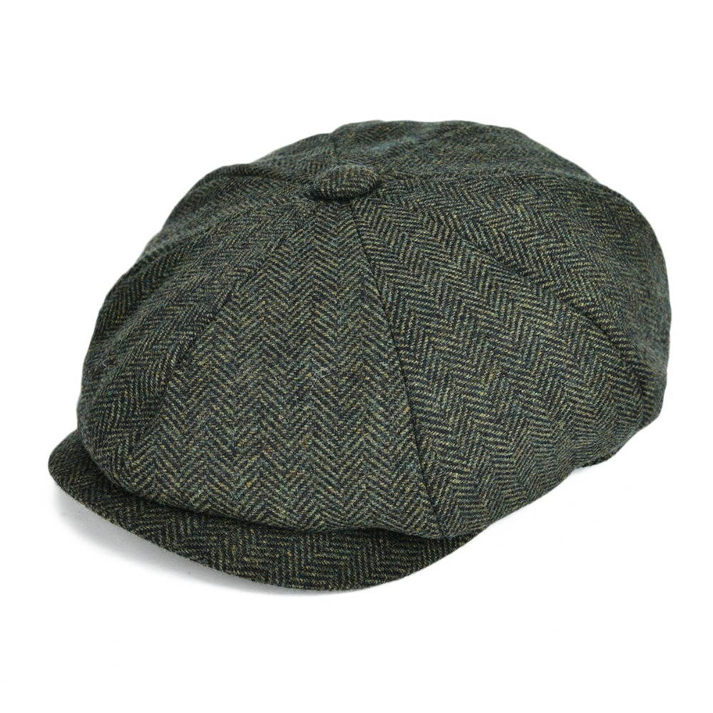 MENS GREY WOOL FLAT CAP CLASSIC STYLING