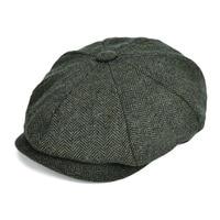 VOBOOM Wool Blend Tweed Newsboy Men Women Herringbone Striped Ivy Flat Cap Autumn Gatsby Classic Newsboy Style Beret Hat 131
