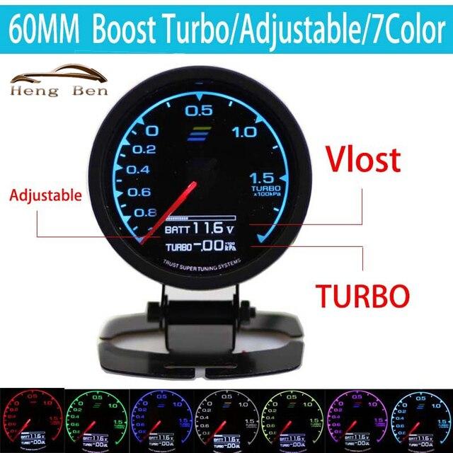 HB 7-Color-in-Calibre Turbo Boost Medidor GRedi 7 Cores de Luz LCD Com Display Medidor de Tensão 60mm 2.5 Polegada Com Sensor de Corrida Gaug