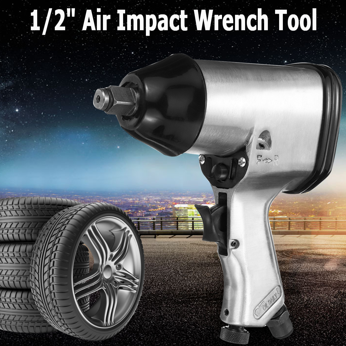 1/2Drive Heavy Duty Pneumatic Air Impact Wrench Tool For Car Wheel Repairing Die Cast Aluminum High Torque Low Noise 4CFM@90PSI
