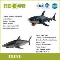 2 Pcs Lot Recur Mako Shark Great White Shark Model PVC Hand Painted Marine Animal Action