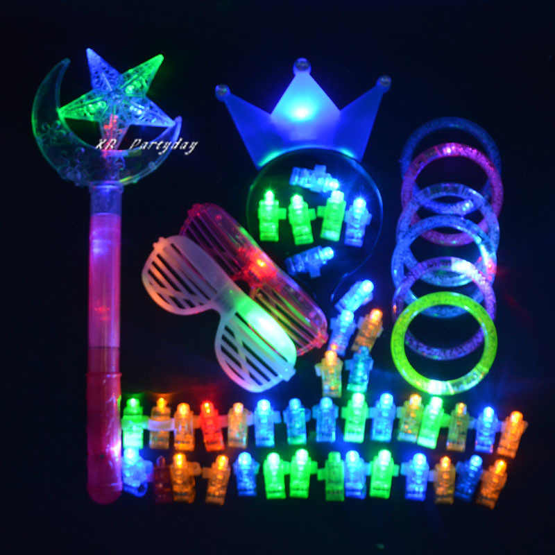 50PC LED Party Light Headband Glow Eye Glasses Bracelets Laser Finger Ring Lamps Dancing Birthday Party Favors Christmas Pack