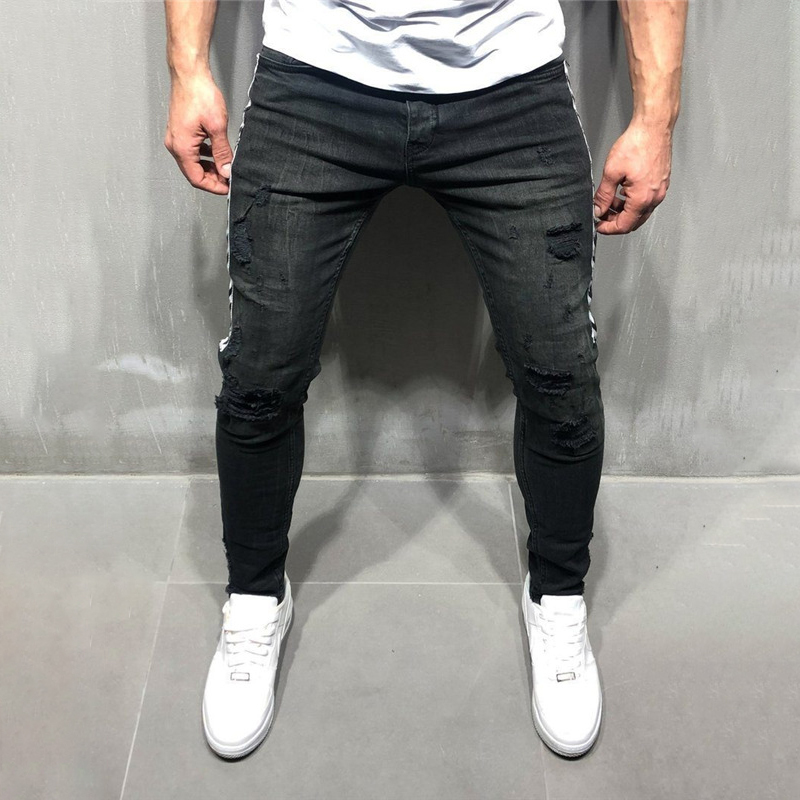 Men's Skinny Black   Jeans   Stripes Hip Hop Streetwear Raw Edge Ripped Skinny Printed 2019 New Lightweight Cotton   Jeans