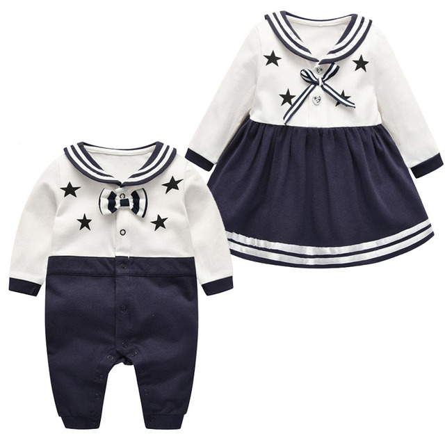 866f17a09e06 2019 girls dress navy style boys romper Spring baby clothes cute stars  family clothes newborn bebes clothing todder boys clothes