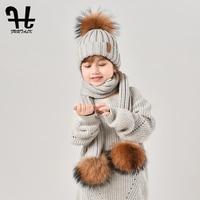 FURTALK Children Winter Beanie Hat and Scarf for Girls Boy Warm Baby Hat Set Fur Pompom Hats Scarves for Kids Child Ages 2 10