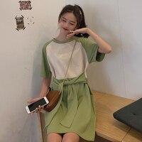 Summer Women Tshirt Dress Korean O neck Short Sleeve Mini Dresses Color Block Bow Bandage Female Casual Loose T Shirt Dress